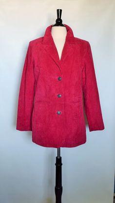 New D&co Demin Company Genuine Leather Suede Red Pink Womens Blazie Jacket Sz S #DcoDeminCompany #BasicJacket
