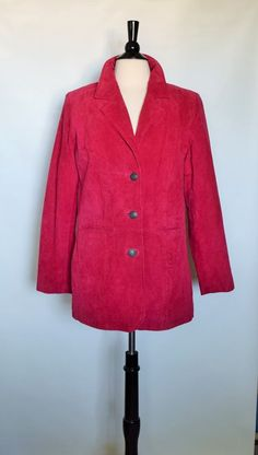 New D&co Demin Company Genuine Leather Suede Red Pink Womens Blazie Jacket Sz S #DcoDeminCompany #BasicJacket