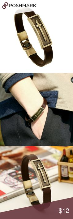 "Cross Leathet Bracelet Handmade Leather Cross Bracelet Cowhide lether belt, metal tag and insert lock Unisex, Match both Men and Women Appr. 0.4"" in width, 8"" in length Vintage Metal insert lock design Jewelry Bracelets"