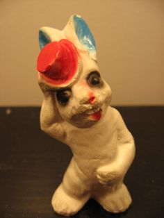 vintage chalkware rabbit - with red top hat