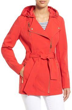 MICHAEL MICHAEL KORS Asymmetrical Zip Belted Soft Shell Coat. #michaelmichaelkors #cloth #