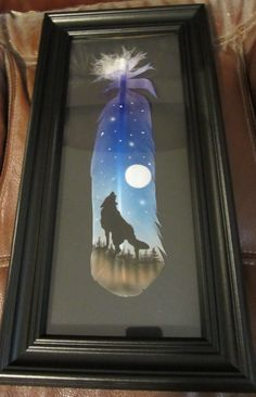 FRAMED Hand Painted Turkey Feather Howling Wolf by AIRBRUSHTEXAS, $25.00