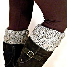 buy a sweater at the thrift, cut off sleeves, and stitch (or glue) to regular socks - so going to do this!