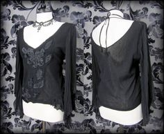 Romantic Gothic Black Lace Applique Angel Wing Top 10 12 Ethereal Ragged Boho | THE WILTED ROSE GARDEN