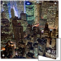 New York City, Top View 10 (Met Life Building, Looking North, Night) Art on Acrylic by Henri Silberman at Art.com