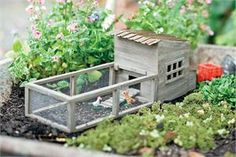 Our miniature chicken coop comes complete with a rooster and 2 chickens! - $34.99