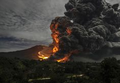 Mount Sinabung, a volcano in Indonesia, has been erupting on and off since early 2014.
