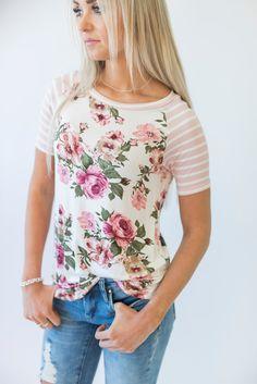 Wyatt Floral & Stripes Tee - Pink  #sponsored