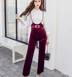 2Pcs Womens Pagoda Sleeve Jacket And Suede Jumpsuits Loose Pants Trousers Korean
