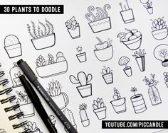 30 Plants to doodle (succulents, cacti and more) www.youtube.com/piccandle