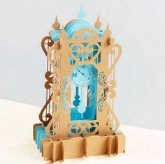 3D Antique Clock Pop Up Invitation Greeting Card Wedding Birthday Fairy Tale…