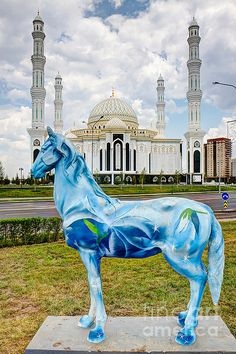 http://www.greeneratravel.com/ Blue Horse White Mosque in Astana Kazakhstan Sultan Mosque, Astana Kazakhstan, Mongolia, Blue Horse, Beautiful Mosques, Islamic Architecture, Sri Lanka, Central Asia, Place Of Worship