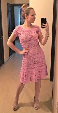 """Купить Описание/схемы к платью """"Келли"""" - розовый, платье, платье летнее, описание вязания, описание работы"""