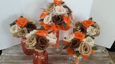 Handmade burlap camouflage wedding bridal set roses orange rustic woods farmhouse outdoors hunter barn woods camo bridesmaids by ANGIESZZZCRAFTS on Etsy Camo Wedding Flowers, Camo Wedding Decorations, Camouflage Wedding, Bridal Flowers, Wedding Themes, Wedding Bouquets, Bridal Sets, Wedding Sets, Wedding Ideas To Make