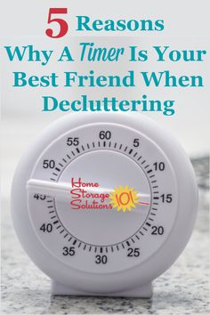 Here are 5 reasons why using a timer for decluttering works so well, and is so effective, plus my two favorite timers for the doing the Declutter 365 missions {on Home Storage Solutions 101} #decluttering #timer Clutter Control, Home Storage Solutions, Home Look, Cooking Timer, Declutter, Stuff To Do, Finding Yourself, Organization, Cleaning