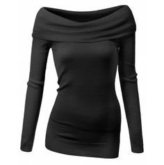 Doublju womens Turn Back Off-Shoulder Ribbed Sleeve Sweater Top (AWOSWL069)