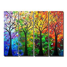 Trees in Autumn  Oil Painting - Set of 4 - Free shipping