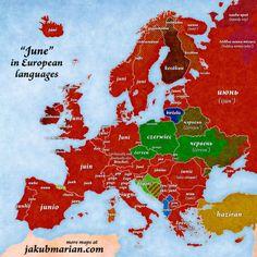 """""""June"""" in European languages."""