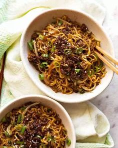 Overhead photo of Quick Asian Beef Ramen Noodles in bowls, ready to be eaten Special Recipes, Quick Recipes, Asian Recipes, Cooking Recipes, Healthy Recipes, Damn Delicious Recipes, Asian Dinner Recipes, Cooking Games, Asian Foods