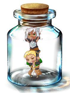 Fenris and Anders in a bottle by djkaeru.deviantart.com on @deviantART