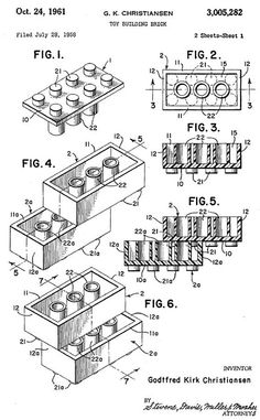 """Toy Building Brick"" Patent Illustration Filed 1958 dated 1961 Inventor Godfred Kirk Christiansen. The how of Legos."