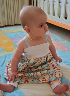 Dress using an old tee and fabric.  Cute
