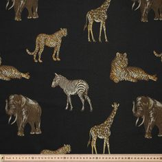 Safari Animal Fabric Black 150 cm