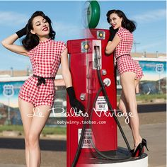 Le Palais Vintage Sweet Sexy PIN UP Red White Plaid Short Sleeve High Waist Slim Jumpsuit