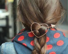 Minimalist brass hair slide pony tail holder large by Kapelika