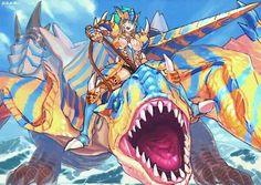 A huntress in full Tigrex armor with a Tigrex lance riding a Tigrex