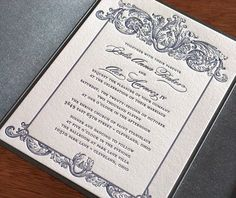 Baroque style letterpress wedding invitation with an ornate border.  | Invitations by Ajalon | invitationsbyajalon.com