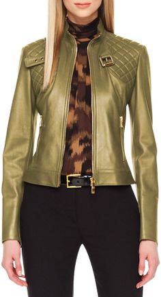 Michael Kors Quilted-Panel Leather Jacket on shopstyle.com.au