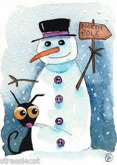 ACEO Original Watercolor Folk Art Stressie Cat Winter Snowman Northpole | eBay