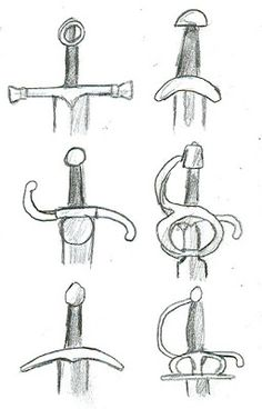 como dibujar: como dibujar espadas Sword Reference, Drawing Reference, Canvas Painting Quotes, Sword Design, Object Drawing, Drawing Exercises, Image Fun, Easy Drawings, Sword Drawings