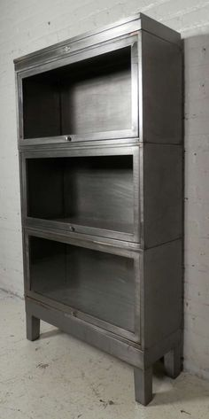Stackable Metal Barrister Bookcase by Globe Wernicke | From a unique collection of antique and modern bookcases at https://www.1stdibs.com/furniture/storage-case-pieces/bookcases/