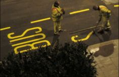 Painting a bus stop