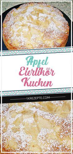 Ingredients: 4 apples 4 egg (s) 180 g sugar 180 g butter, room warm 180 g flour 1 tbsp. Baking powder 1 pinch (s) salt 50 g grated coconut 1 lemon (s), the juice of which 5 tbsp. Eggnog 50 g al Apple Recipes, Cake Recipes, Cake Simple, Eggnog Cake, Juice Cleanse Recipes, Scones Ingredients, Food Cakes, Vanilla Cake, Food Inspiration