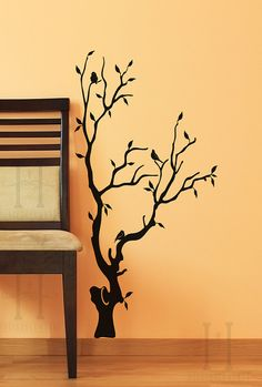 Tree Vinyl Wall Decal Art home Decor with birds perched on the branch, Entryway, Foyer, Living room display