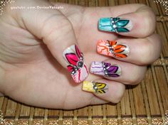 Bright Crackle Flower Nail Art - Nail Art Gallery by nailsmag.com