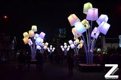 Colored glowing street art lanterns!