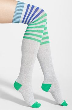 kate spade new york 'fun stripes' over the knee socks (Online Only) available at #Nordstrom
