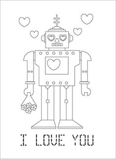 my son wanted a non girly robot valentine coloring page