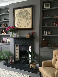Office - moles breath on built ins, white on walls my home style гостиная, Farrow And Ball Living Room, New Living Room, Snug Room, Victorian Living Room, Dark Living Rooms, Living Room Designs, Living Room Shelves, Living Room Built Ins, Living Room Cupboards