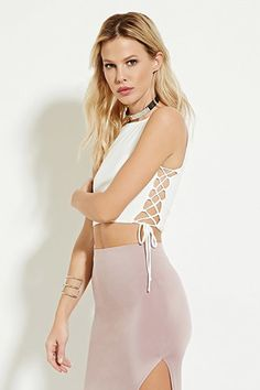 Lace-Up Crop Top | Forever 21 - 2000186893