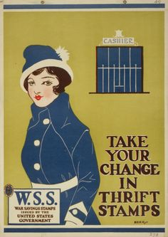 Poster advertising WWI Thrift Stamps, 1917.