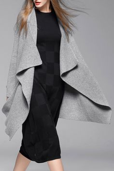 Weiguoyue Gray Asymmetric Drape Front Cardigan | Cardigans at DEZZAL