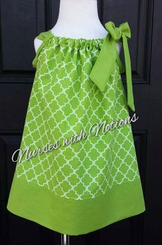 Check out this item in my Etsy shop https://www.etsy.com/listing/242609791/green-quatrefoil-pillowcase-dress