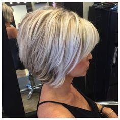 Grey Hair Inverted Bob Haircut, bob haircuts for fine hair,inverted bob with� More #ShortHaircuts #FineThinHair Click the image now for more info.. Inverted Bob Hairstyles, 2015 Hairstyles, Short Hairstyles For Women, Black Hairstyles, Pixie Haircuts, Blonde Haircuts, Medium Hairstyles, Popular Hairstyles, Stacked Bob Haircuts