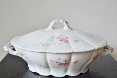 SOUP TUREEN Covered Dish Weimar Germany Rose by MyDadsParadise, $45.00