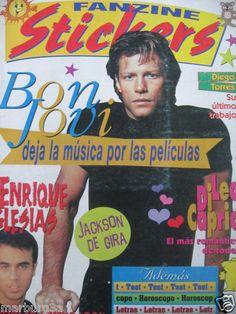 JON BON JOVI COVER IN MAGAZINE FANZINE STICKERS fArgentina Leo Di Caprio 1997